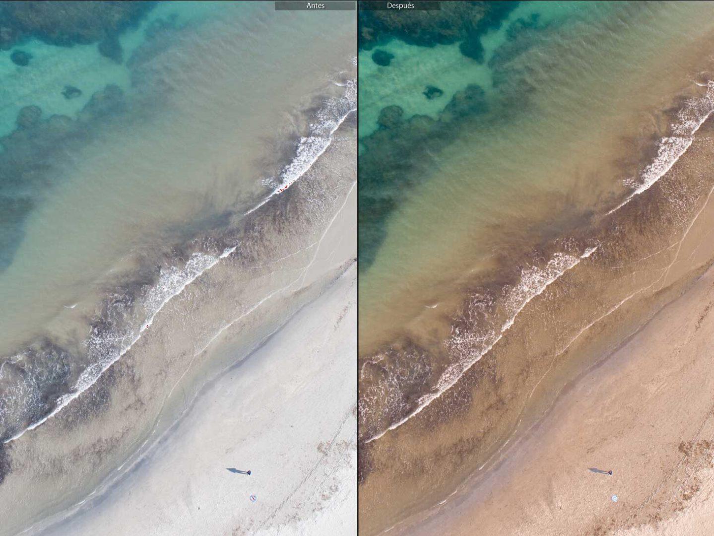 Revelado digital de una fotografía aérea con dron